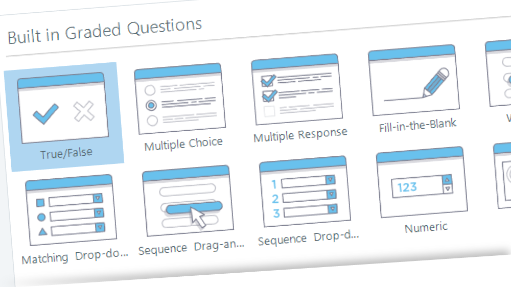 Assessment question menu in Articulate Storyline 360