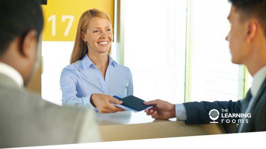 Female airline worker accepts passport